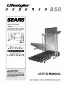 Sears LifeStyler Treadmill USER'S MANUAL Expanse 850
