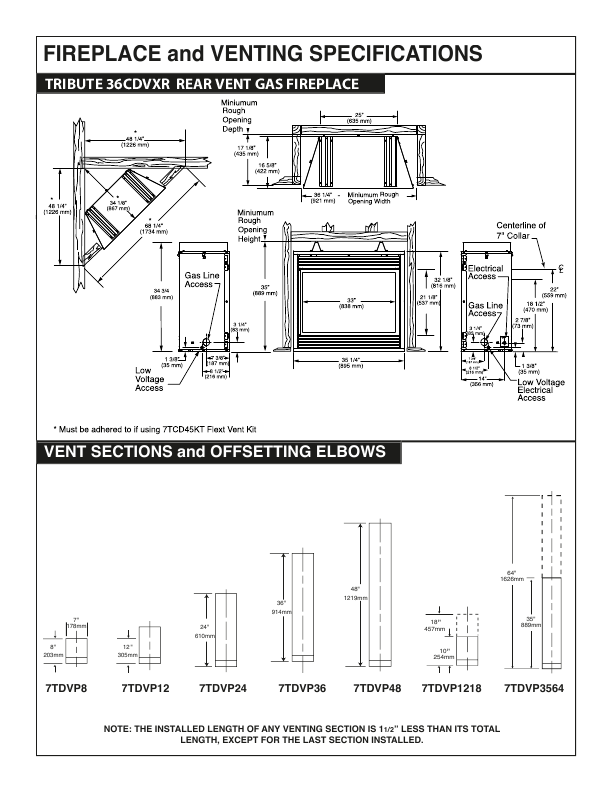 Vermont Castings Indoor Gas Fireplace Specification Sheet