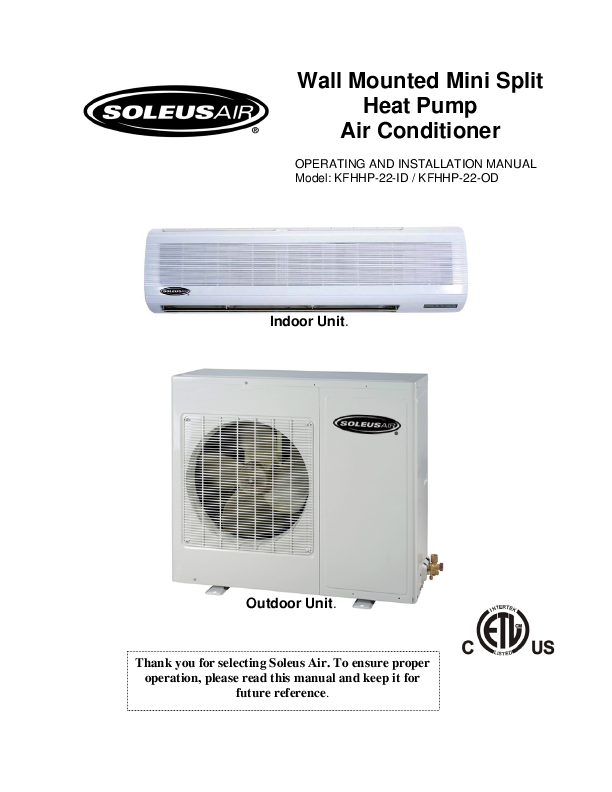 soleus air air conditioner kfhhp 22 id user s guide manualsonline