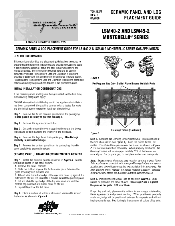 Lennox Hearth Indoor Fireplace LSM40 2 User s Guide