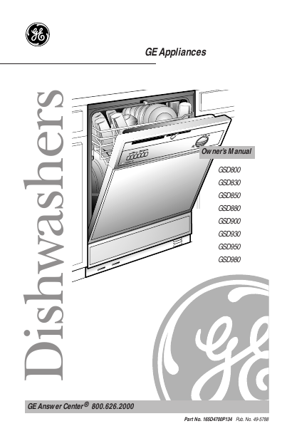 search general electric general electric user manuals rh portablemedia manualsonline com general electric dishwasher manual general electric profile dishwasher owners manual