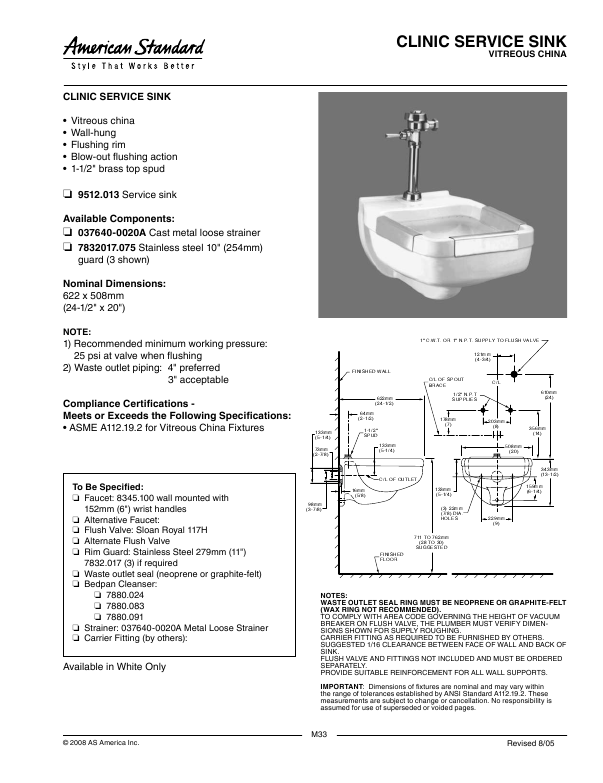 Clinical Service Sink : Additional American Standard Clinic Service Sink 9512.013 Indoor ...