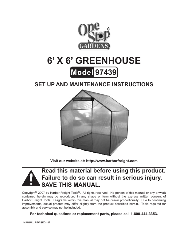 Harbor Freight Tools Greenhouse Set Up And Maintenance Instructions