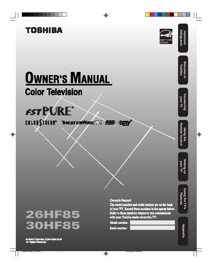 search toshiba toshiba projection hdtv user manuals manualsonline com rh tv manualsonline com Toshiba 50L5200U Where Do You Hook Up Component Cords Toshiba 50L5200U User Manual