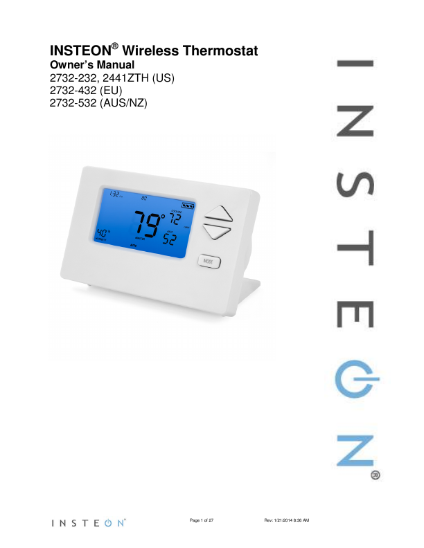 Search remote user manuals manualsonline insteon thermostat 2732 432 publicscrutiny Gallery