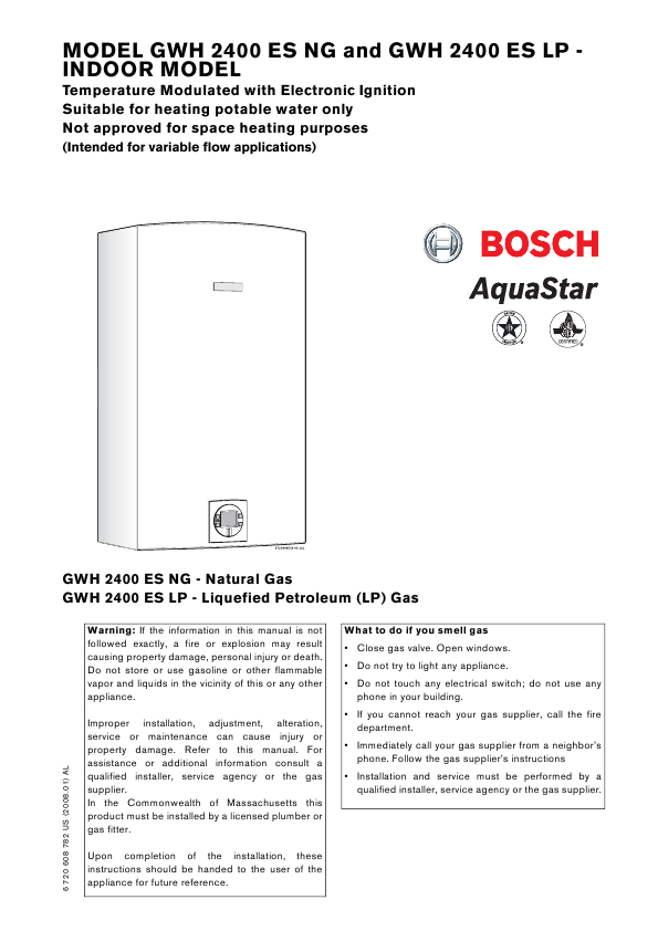 search bosch bosch natural gas water heater user manuals rh homeappliance manualsonline com Bosch AquaStar Tankless Water Heater Bosch Water Heaters Problems
