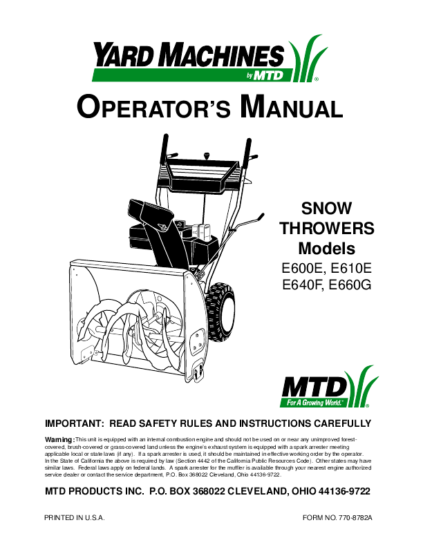 yard machine snow throwers