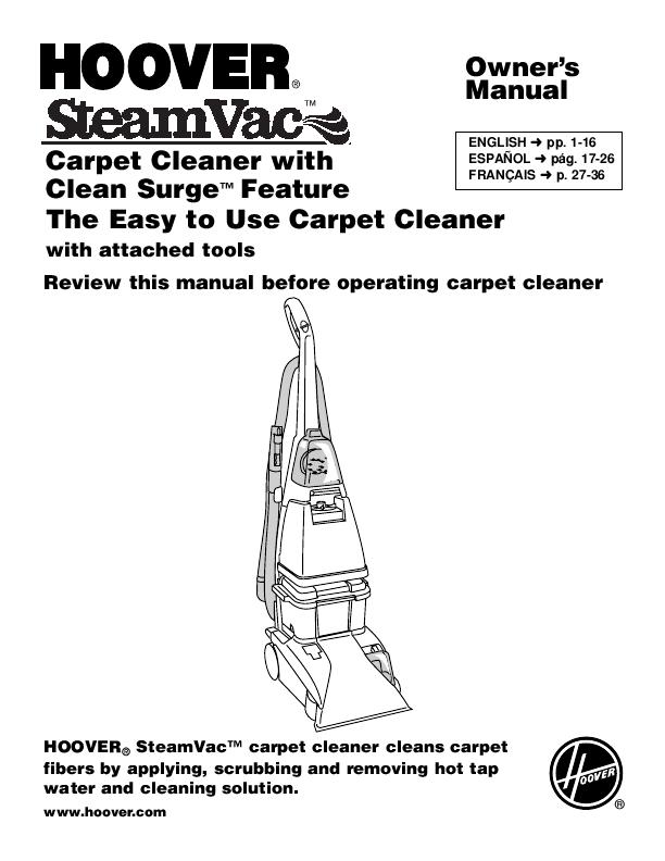 Hoover Vacuum Cleaner SteamVac User's Guide ...