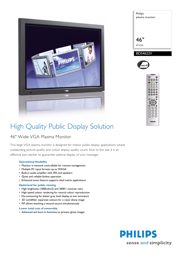 Philips 220CW8FB Specifications 3 Pages