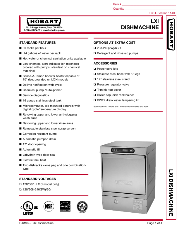 Search st t corp user manuals manualsonline hobart lxi hobart lxi dishwasher sciox Choice Image