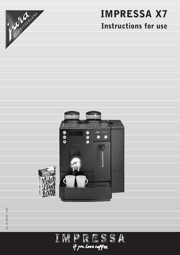 Jura Capresso Coffee Grinder IMPRESSA X7 User s Guide ManualsOnline.com