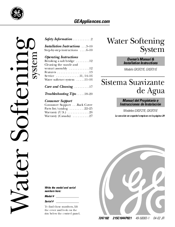 Ge Water Dispenser Gxsf27e User S Guide Manualsonline Com