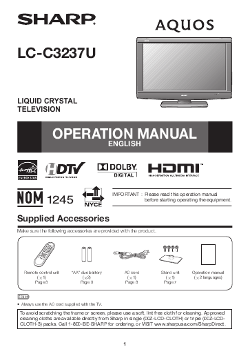 search sharp sharp lcd h user manuals manualsonline com rh tv manualsonline com