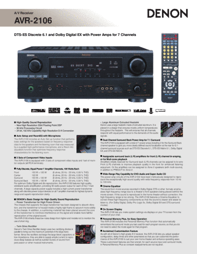 denon owners manual stereo amplifier avr 2106. Black Bedroom Furniture Sets. Home Design Ideas