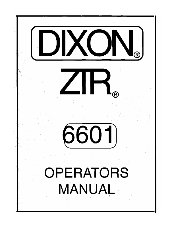 dixon zero turn mower manual