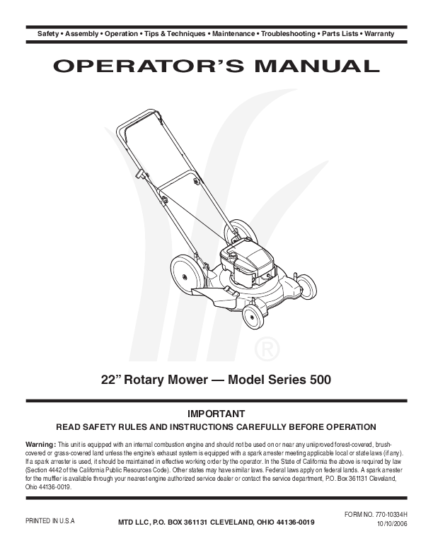 yard machine 21 push mower manual