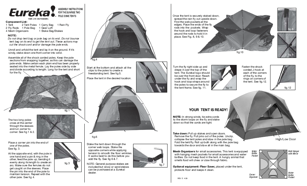 Eureka! Tents Sunrise  sc 1 st  ManualsOnline.com & Search assembly User Manuals | ManualsOnline.com