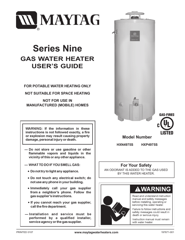 Maytag Water Heaters 107