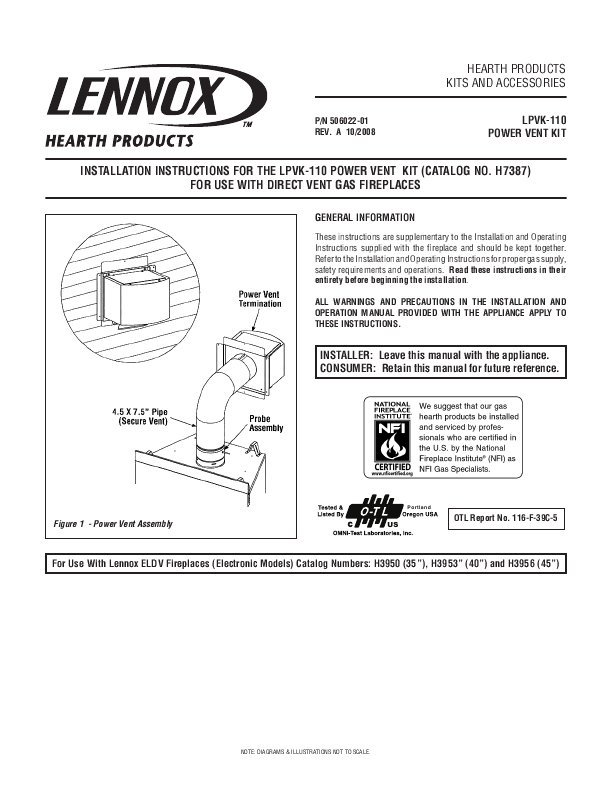 Lennox Hearth Indoor Fireplace LPVK 110 User s Guide