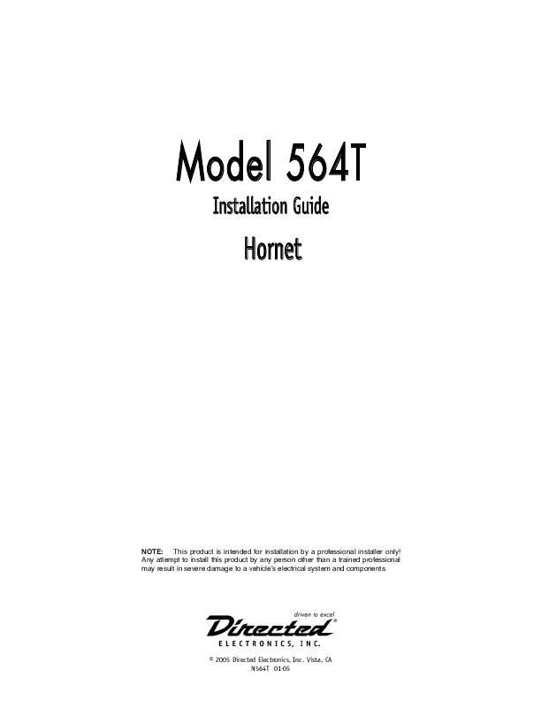 Hornet 564t installation manual.