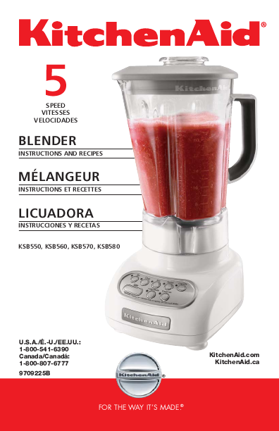 Kitchenaid Appliances Blender Instruction Manual