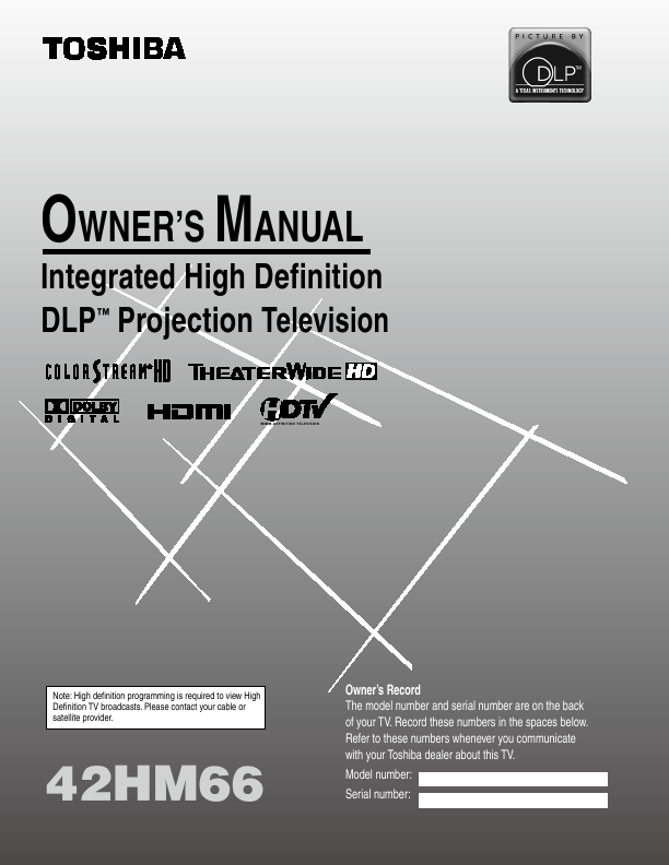 search toshiba toshiba lcd hdtv user manuals manualsonline com rh tv manualsonline com Toshiba 56HM66 Service Manual Toshiba DLP TV 60 Inch