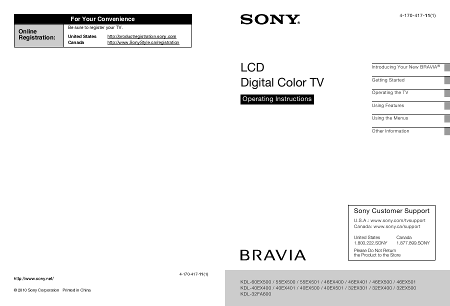 search sony lcd tv user manuals manualsonline com rh tv manualsonline com Sony BRAVIA 40 Inch sony bravia kdl-55ex500 manual pdf