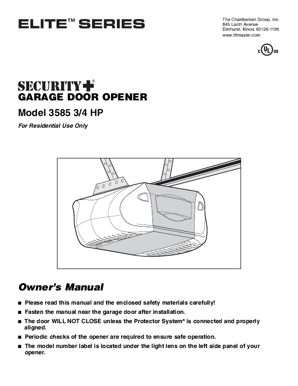 Chamberlain 1 2 Hp Chain Drive Garage Door Opener System Manual Guide