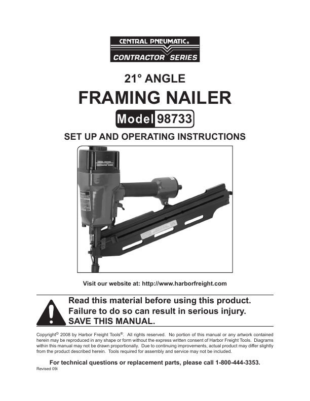 Central Pneumatic 21 Angle Framing Nailer  amazoncom