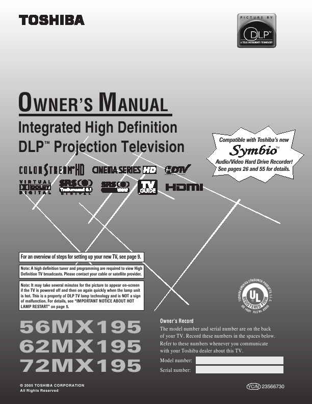 search toshiba toshiba dlp rearprojection tv user manuals rh tv manualsonline com Toshiba Remote Manuals Toshiba Remote Manuals