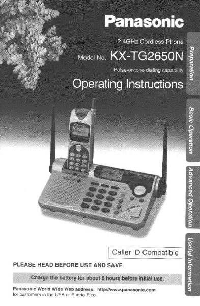 panasonic 2 4ghz cordless phone operating instructions kx