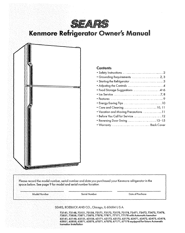 kenmore elite side by refrigerator service manual image rh nabateans org Kenmore Dryer Kenmore Model 790 Electric Range