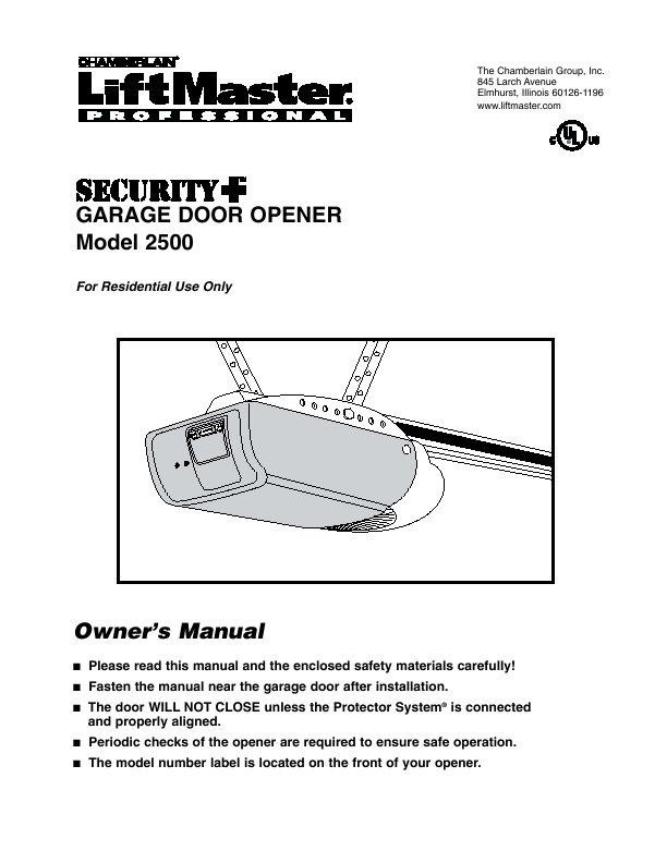 The Chamberlain Group Inc GARAGE DOOR OPENER Owner s