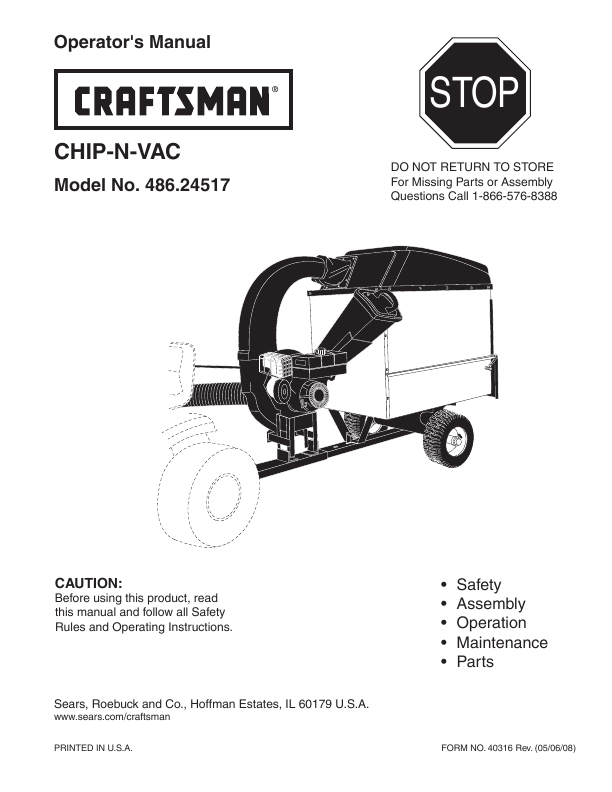 Sears Craftsman Lawn Vacuum And Chipper : Craftsman chipper  user s guide manualsonline