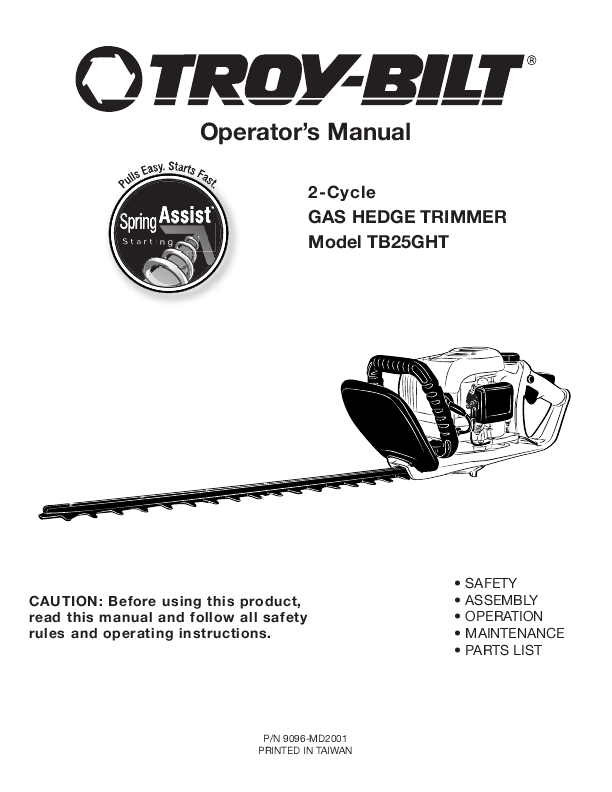Search trimmers user manuals manualsonline troy bilt tb25ght fandeluxe Choice Image