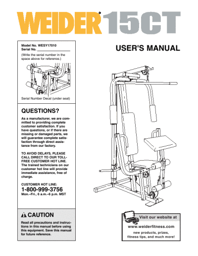 Weider home gym ct user s guide manualsonline