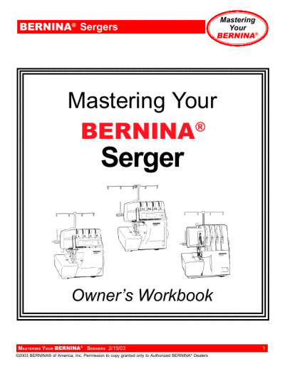 for Bernina Sergers Sewing Machine