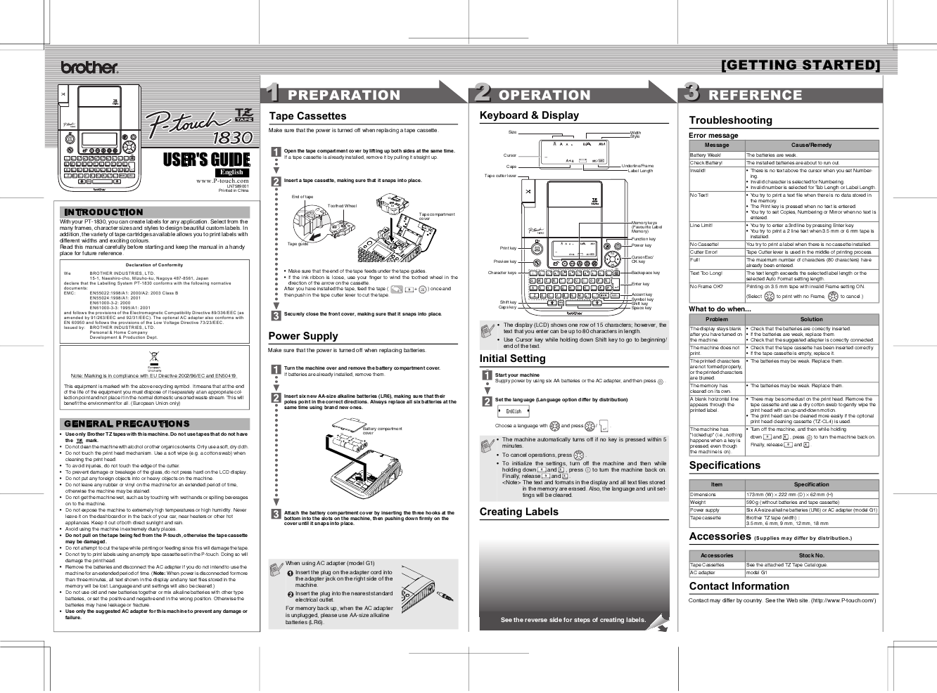 User's Guide | Manuals | PT-1950 | United States | Brother