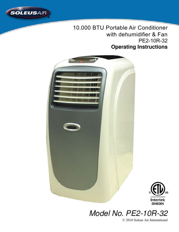 Window Type Air Conditioner Soleus Air Air Conditioner PE2-10R-32 User's Guide ...