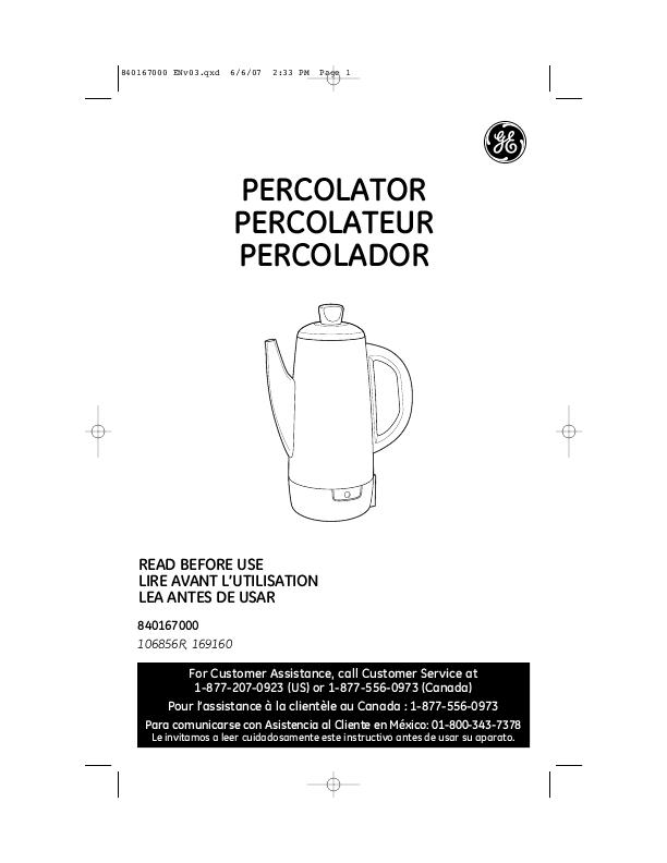 General Electric Coffee Maker Manual : General Electric Percolator Owner s Manual ManualsOnline.com