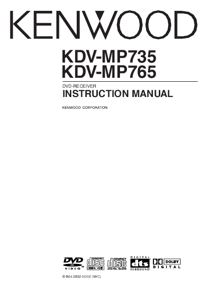 Kenwood DVD-RECEIVER INSTRUCTION MANUAL KDV-MP735, KDV-MP765 ...