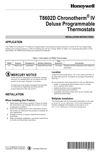 honeywell thermostat operating instructions