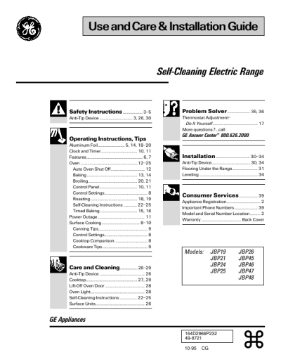 ge stove manual self cleaning