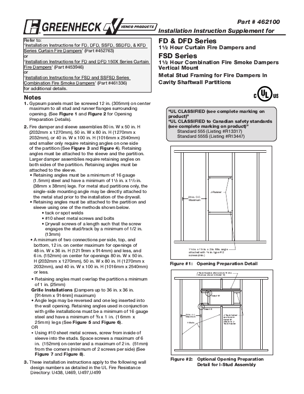 Greenheck Hour Curtain Fire Dampers Installation Instruction