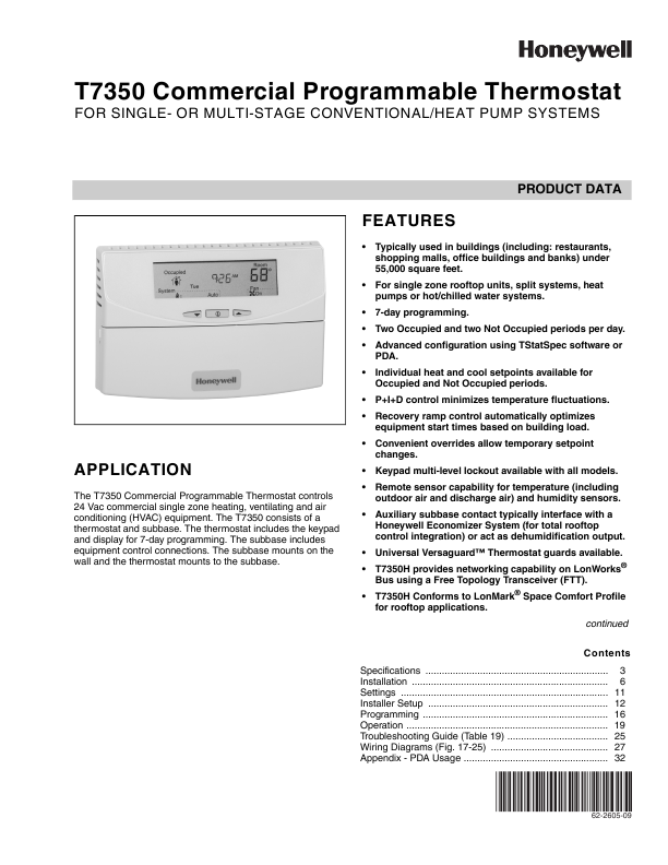 Honeywell Thermostat User Manual