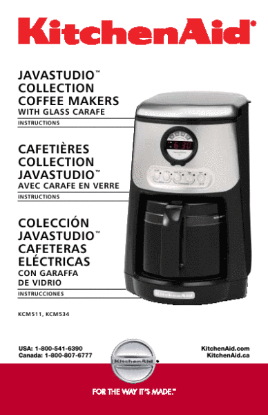 Coffee Maker Instructions : Kitchenaid: Kitchenaid Coffee Maker Manual