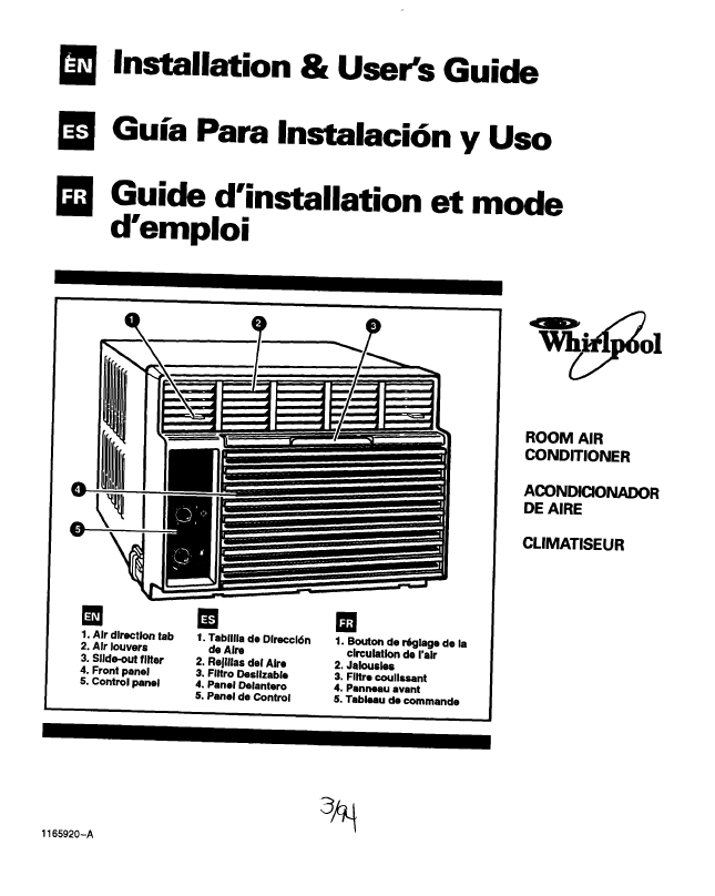 Search Whirlpool Whirlpool Window Air Conditioner User Manuals