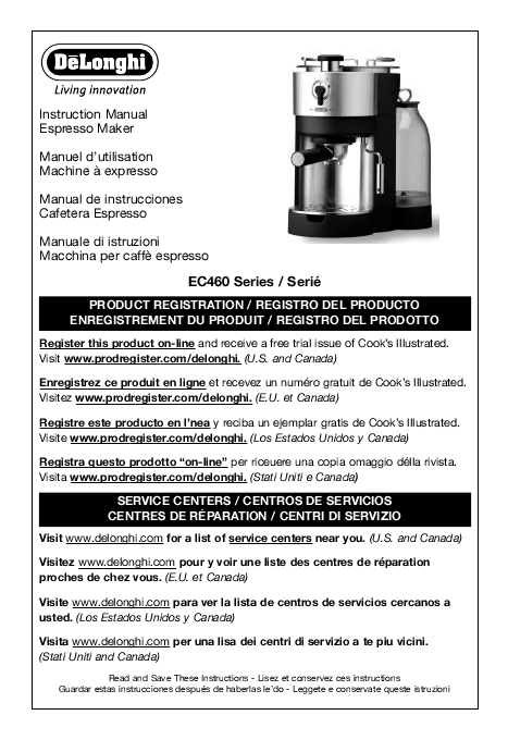 Delonghi Coffee Maker Owner S Manual : Search delonghi coffee maker User Manuals ManualsOnline.com