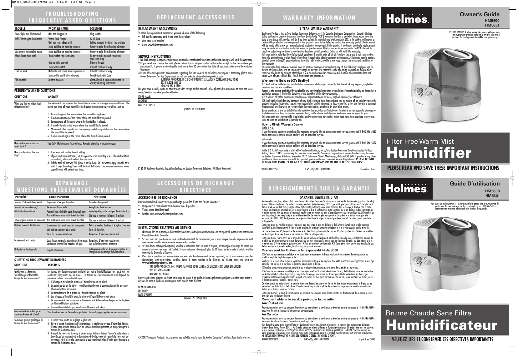 Holmes Humidifier HM5601 User's Guide ManualsOnline.com #413E3F