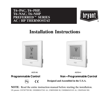 Se Thermostat User Manuals Manualsonline. Bryant T6nac. Wiring. 33cs450 01 Thermostat Wiring Diagram At Scoala.co